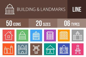 50 Buildings Line Multicolor Icons