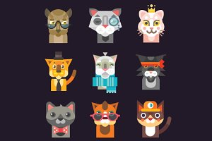 Cute Cat Avatar Illustration Set