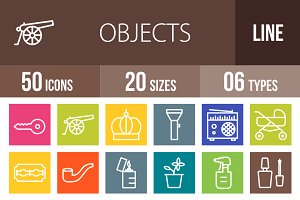 50 Objects Line Multicolor Icons