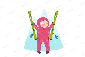 Skiing Sport Child Girl in Winter