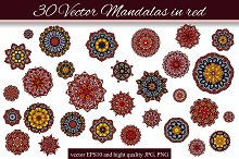 30 Vector Mandalas in red