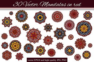 30 Vector Mandalas in red