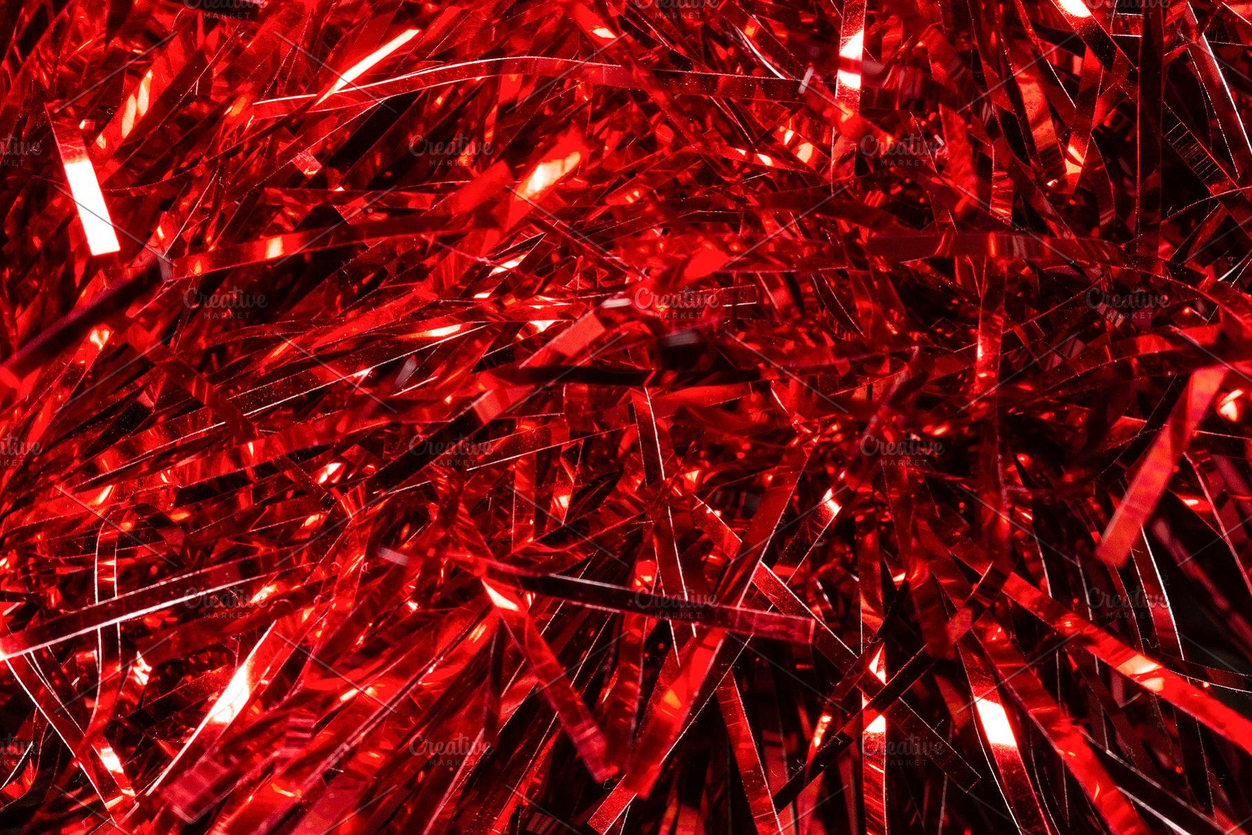 Red Tinsel Texture Background