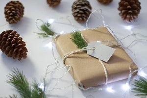 Gift wrapped with pinecone and pine