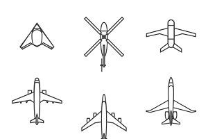 Vector line aircraft set