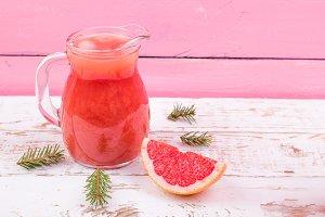Grapefruit juice in a jug
