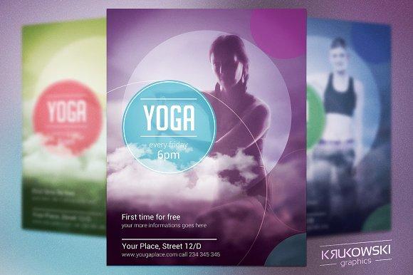 yoga flyer template flyer templates creative market. Black Bedroom Furniture Sets. Home Design Ideas