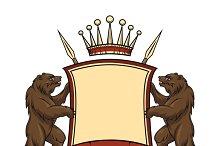Heraldic logo element. Bears with sh
