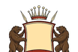 Heraldic logo element. Bears with sh