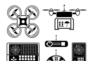 Vector quadrocopter & drone icon set