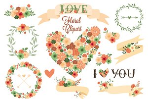Floral Clip Art. Floral Elements.