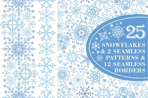 Snowflakes collection.Winter pattern