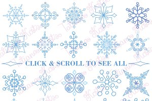Snowflakes shape collection.Set 2