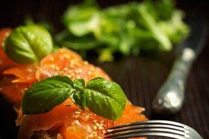 Marinated salmon on slice of bread