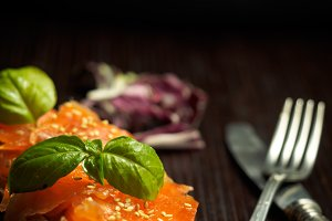 Marinated salmon on slice of bread