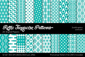 Retro Turquoise Digital Papers