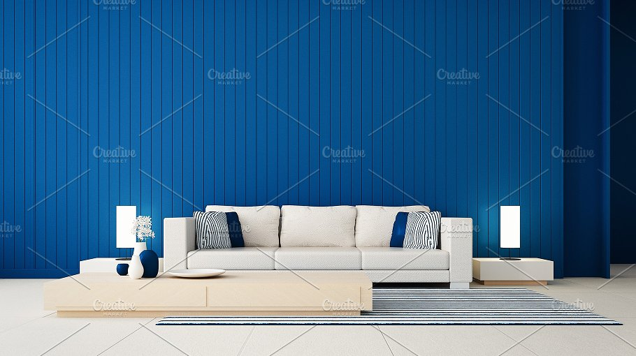 Classic blue wall living room