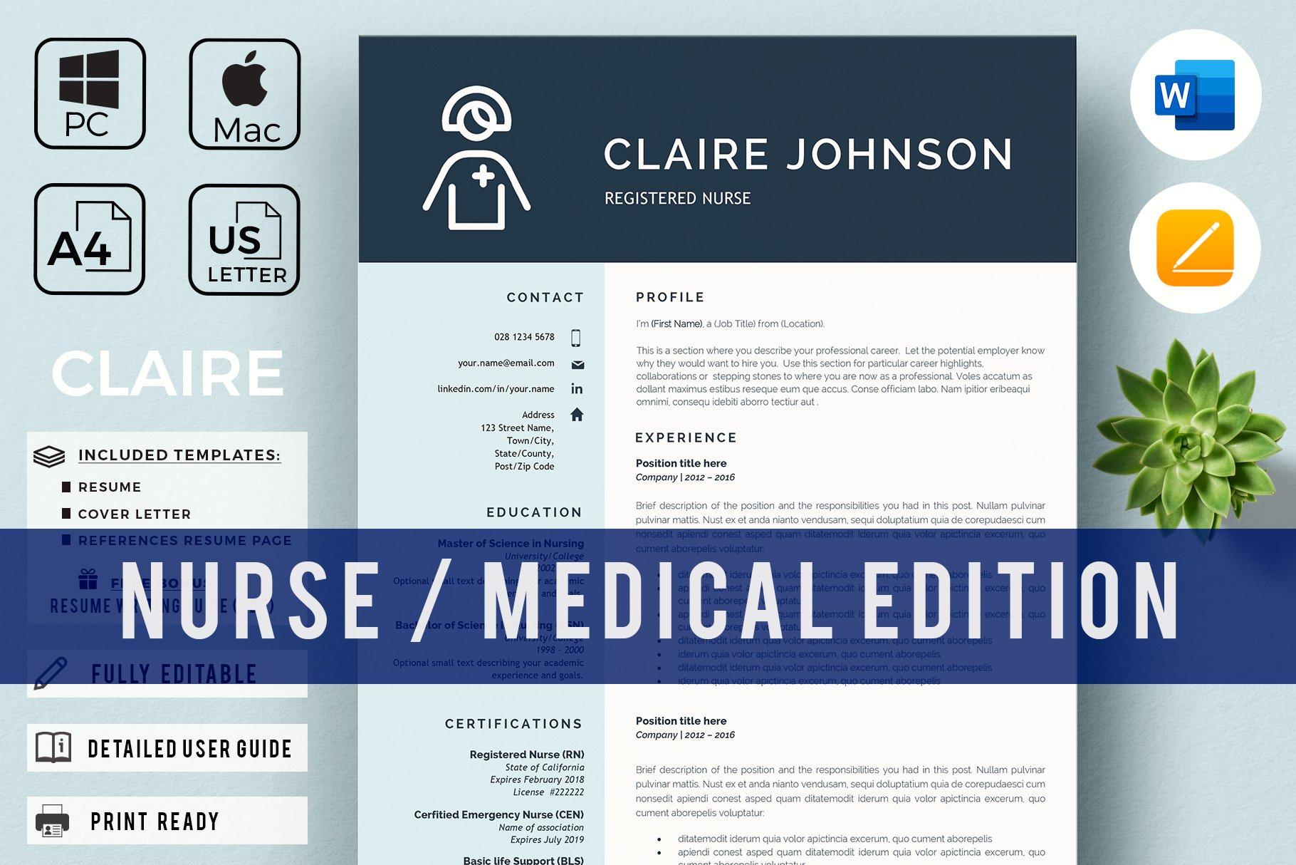 Nurse Resume Template   Nursing CV ~ Cover Letter Templates ...