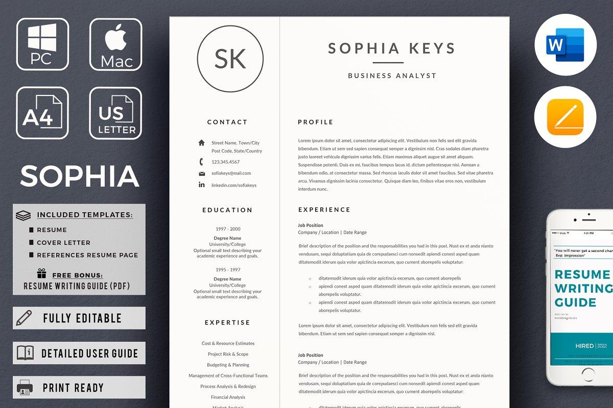 Minimalist CV Resume + Cover Letter ~ Resume Templates ...