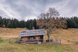 Wooden cottage in autumn