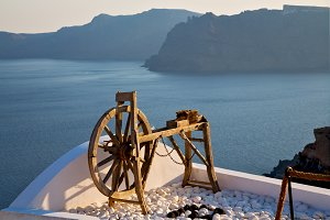 greece in   sea and spinning wheel