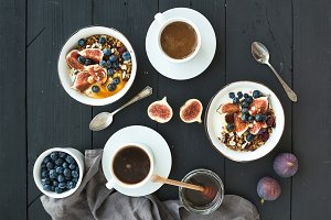 Bowls of oat granola with yogurt