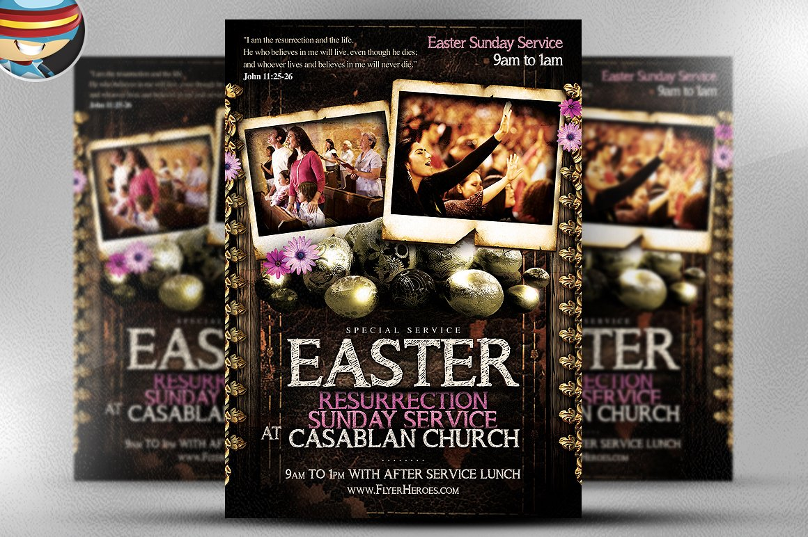 easter sunday flyer template flyer templates on creative market