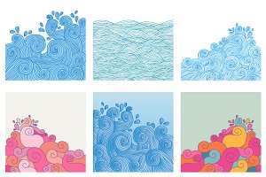 Set of 6 waves backgrounds