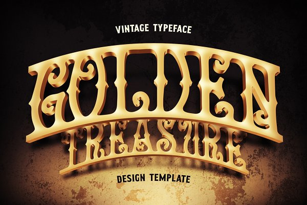 Golden Treasure font & template