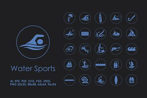 25 water sports icons