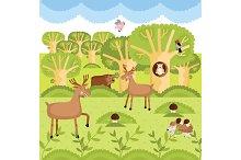 Wild animals on the forest.