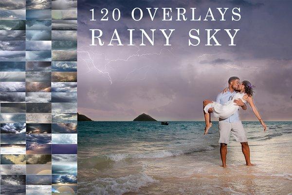 120 Rainy, cloudy sky photo overlays