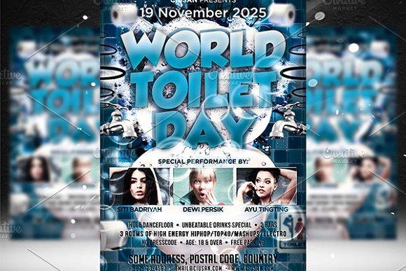 World Toilet Day Flyer Template Flyer Templates on Creative Market – Azure Flyer Template