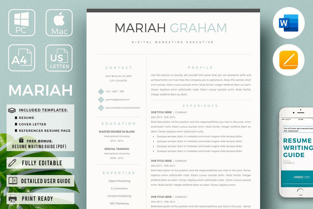 Modern Resume design + Cover Letter ~ Resume Templates ...