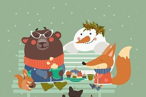Cute animals celebrating Christmas