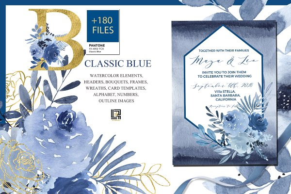 -50%OFF Classic Blue. Watercolor