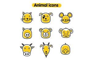 Hand drawn animal icons