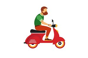 hipster bearded man with scooter