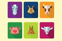 Farm animals icons.