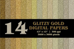 14 Glitzy Gold Digital Papers