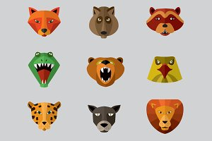 Predator animals icons.