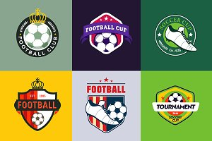 Set of vintage football soccer logos