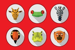 Tropical animals icons