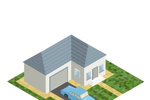 White isometric house with blue car