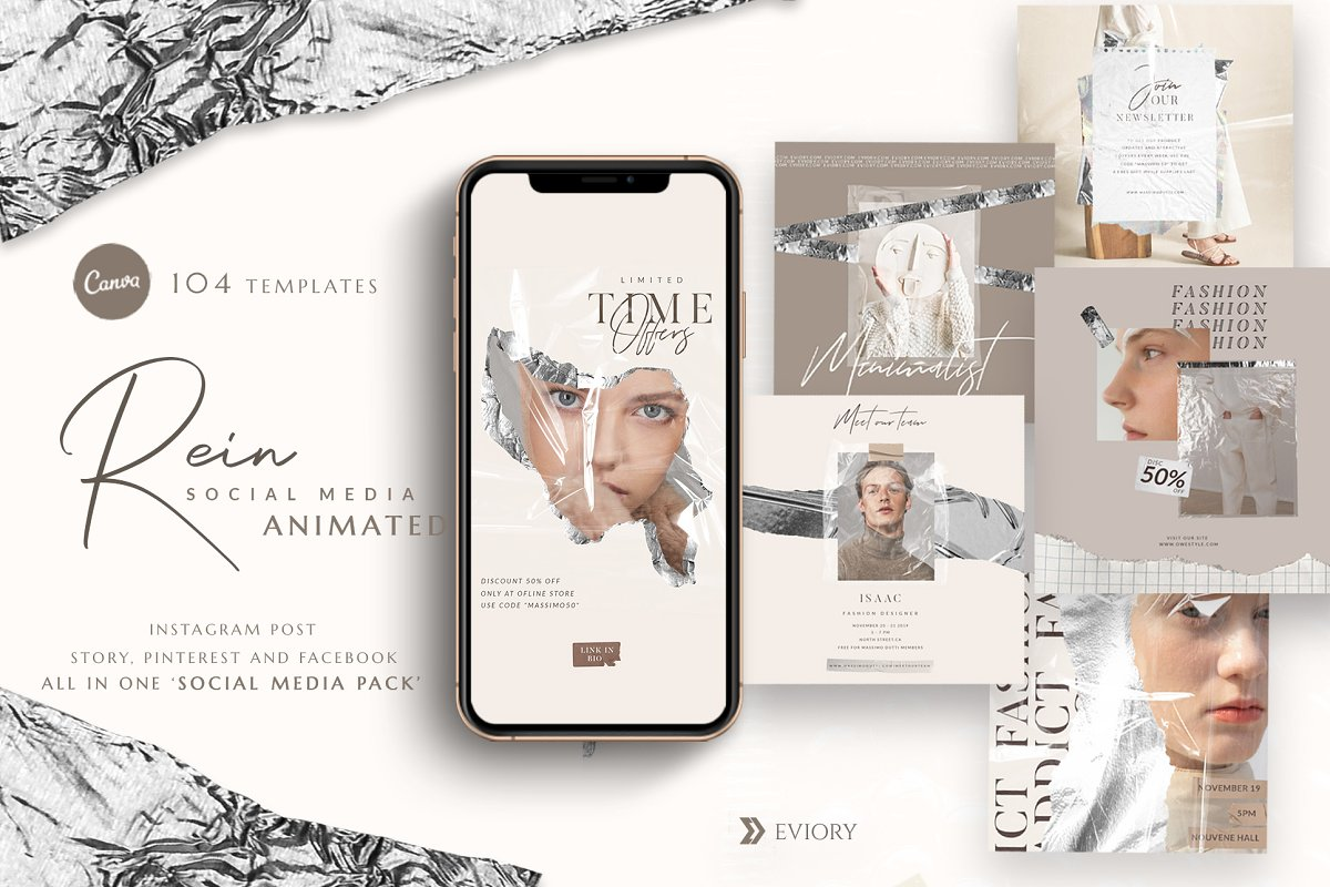 PS & CANVA Rein - Social Media Pack in Instagram Templates - product preview 8
