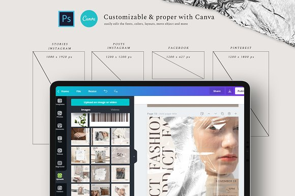 PS & CANVA Rein - Social Media Pack in Instagram Templates - product preview 2