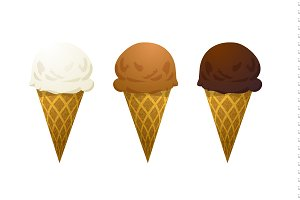 Set of six ice cream cone