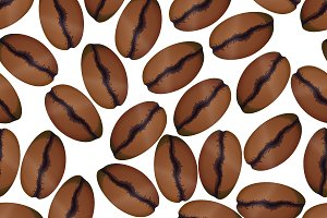 Coffee beans on white pattern