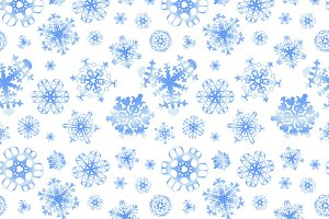 Different modern snowflakes pattern