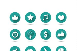 Set of 20 different vector flat icon